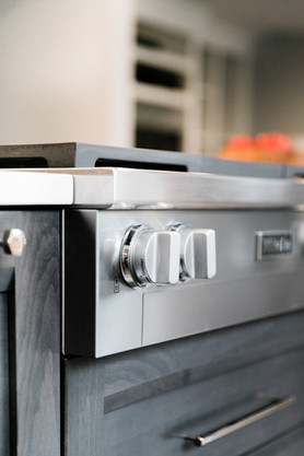 royal blue white modern kitchen remodel Amanda George Interior Design oven detail
