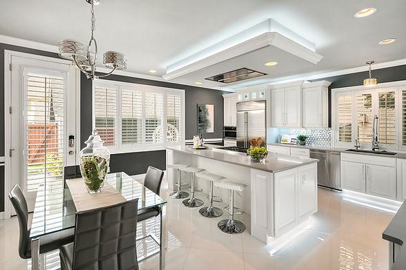 modern white grey kitchen dining room Amanda George Interior Design