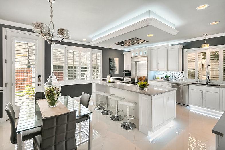 white grey modern kitchen remodel Amanda George Interior Design