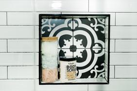 mint bathroom white tile details Amanda George Interior Design shower details