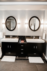 two sink black and white modern bathroom Amanda George Interior Design