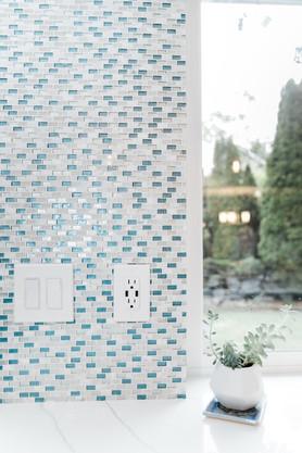 royal blue white modern kitchen remodel Amanda George Interior Design custom backsplash
