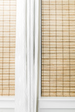 clean white curtain bamboo blinds Amanda George Interior Design