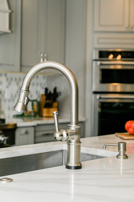 classic stunning kitchen remodel white and grey Amanda George Interior Design custom sink