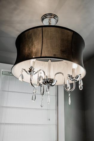 bathroom chandelier modern Amanda George Interior Design