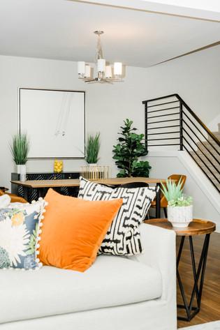 living space remodel white black modern Amanda George Interior Design