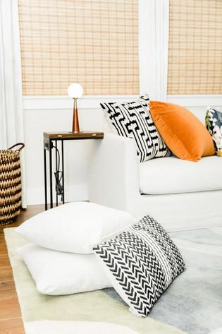 living space remodel white black modern Amanda George Interior Design detail