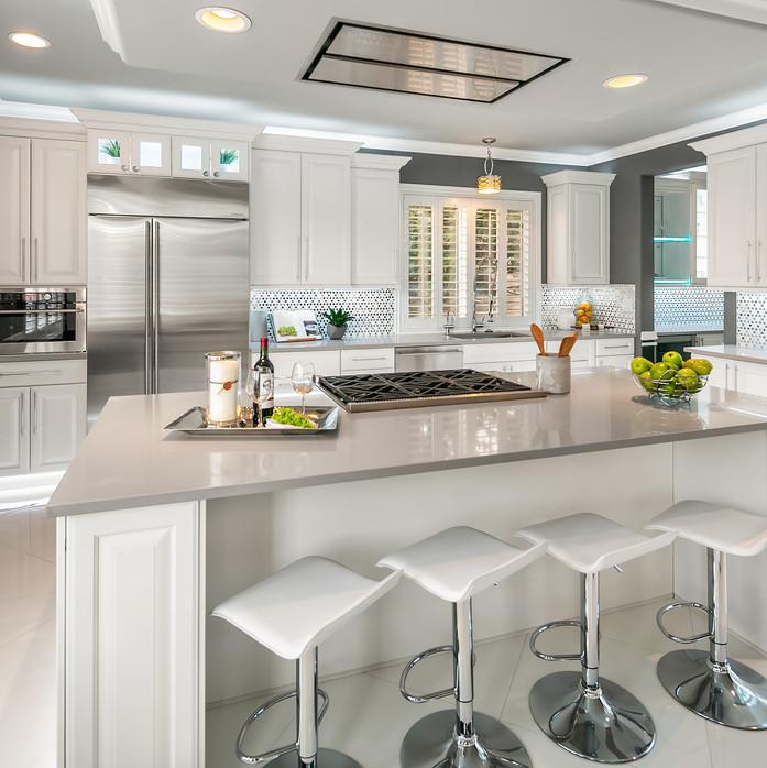 modern bar stool kitchen area Amanda George Interior Design