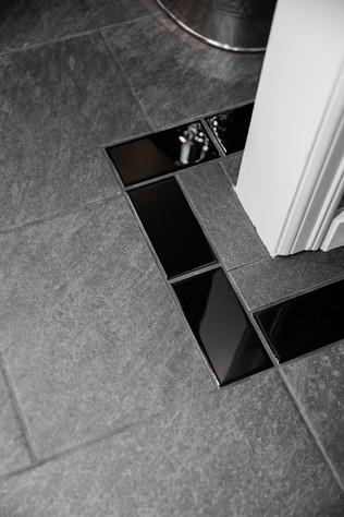 custom bathroom black tile Amanda George Interior Design