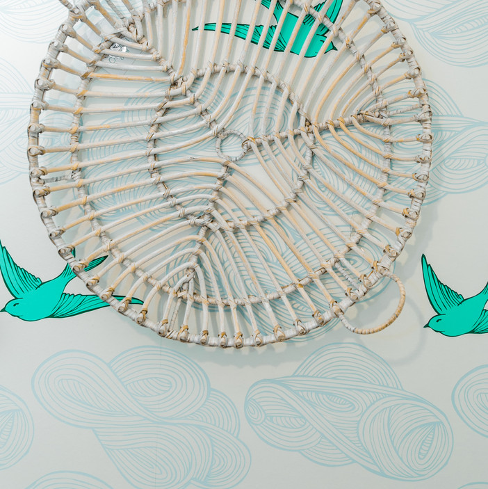 laundry room makover modern fresh Amanda George Interior Design bird wallpaper details