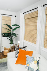 living space remodel white black modern Amanda George Interior Design bamboo blinds