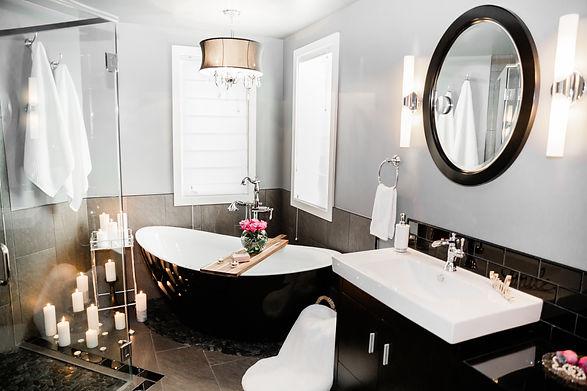 modern black and white bathroom tile Amanda George Interior Design