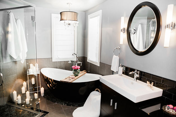 bathroom remodel black and white Amanda George Interior Design