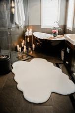 white shower rug bathroom Amanda George Interior Design
