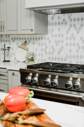 classic stunning kitchen remodel white and grey Amanda George Interior Design backsplash