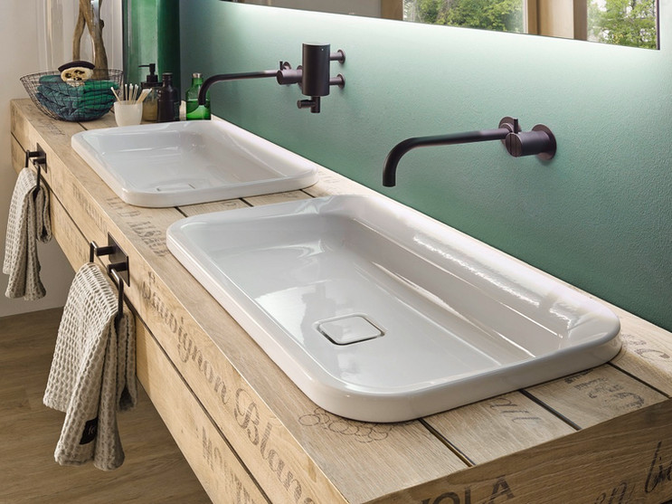 Kaldewei Emerso built-in washbasins in Alpine White with easy-clean finish