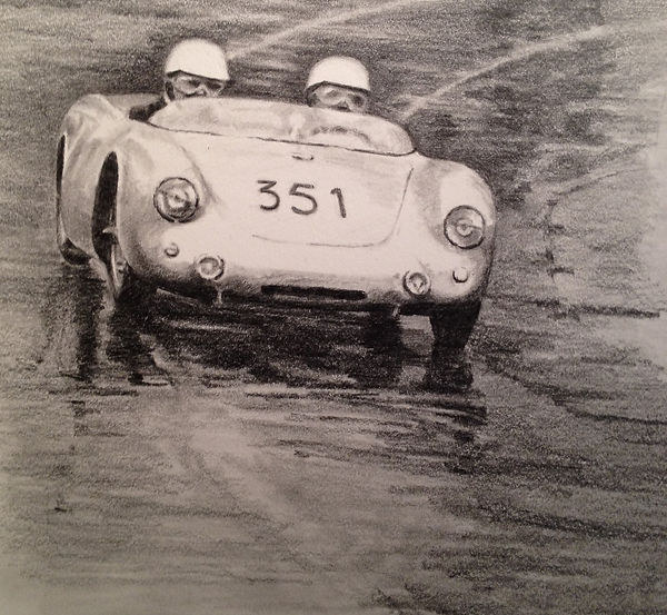 Pencil drawing of race car on wet pavement