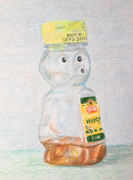 Color pencil drawing of honey bear container