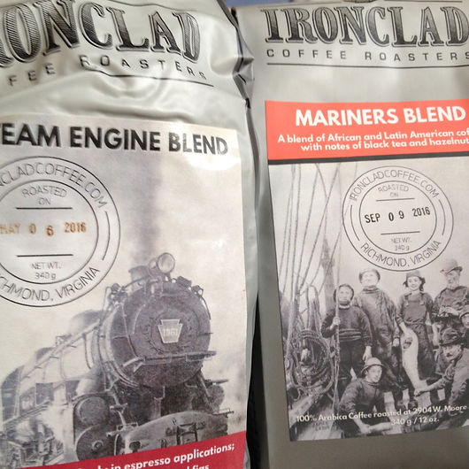 Ironclad Coffee Roasters packing artwork by James LaRue