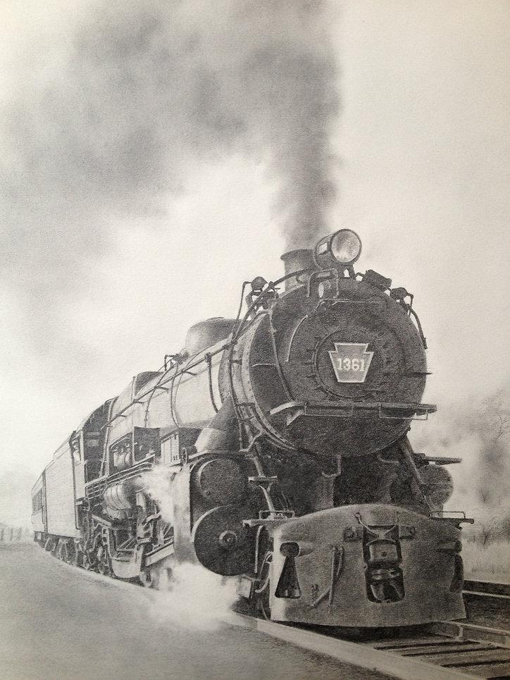 PRR 1361 K-4 steam locomotive at Bay Head, NJ