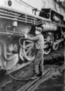 Washing the ashes from the firebox of a Pennsylvania Railroad K-4 steam locomotve, South Amboy, NJ