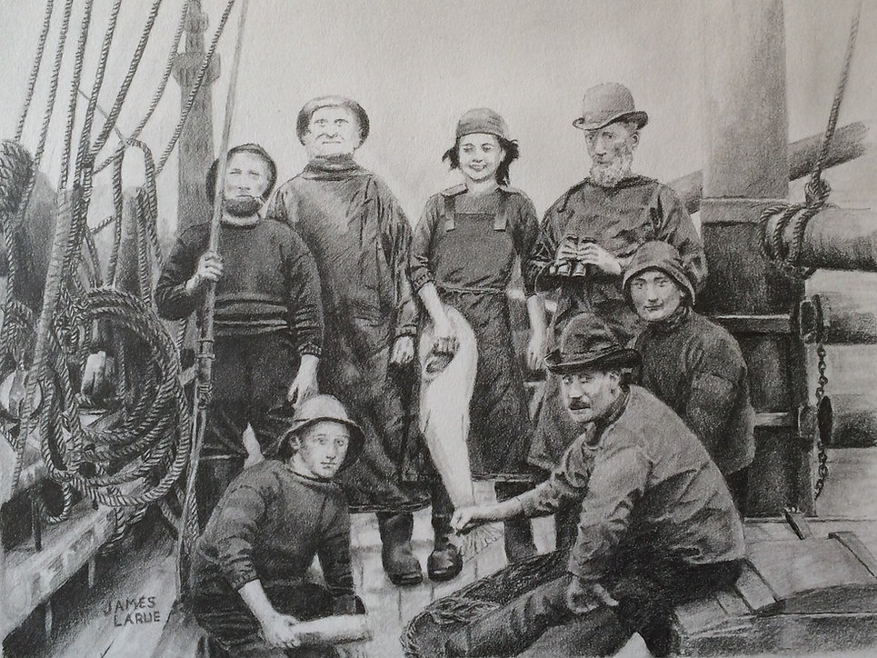 Fshermen in Grimsby, England