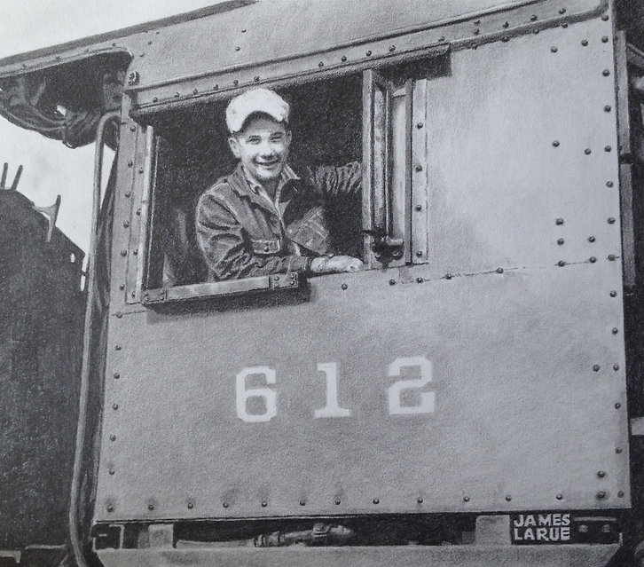 Locomotive engineer in cab of PRR K-4 steam locomotive, Bay Head, NJ
