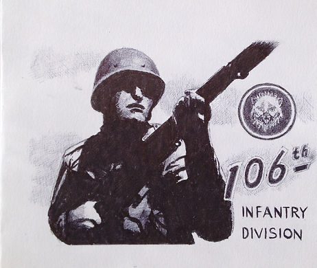 Drawing of WW2 infantry soldier, 106th Infantry Division