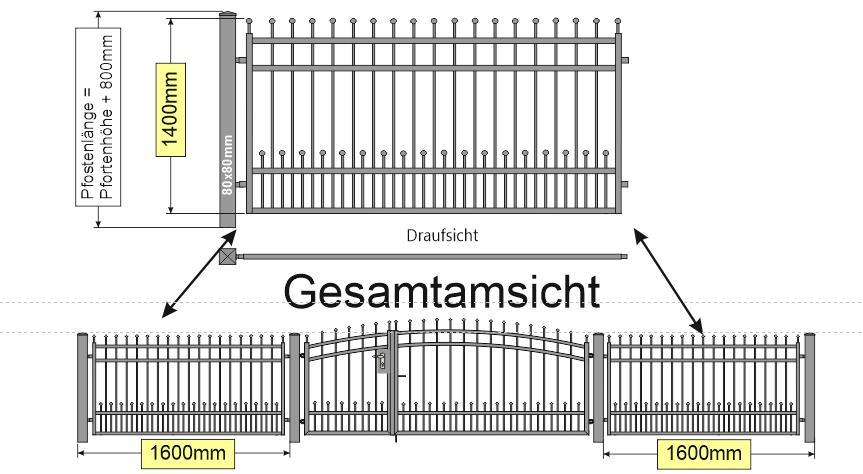 Modell Bonn Zaun-gerade und Tor Oberboge