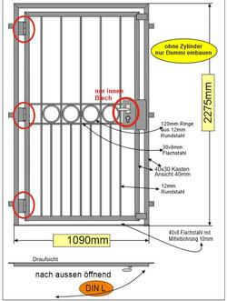 Türgitter Ringreihe  3x 180° Bänder