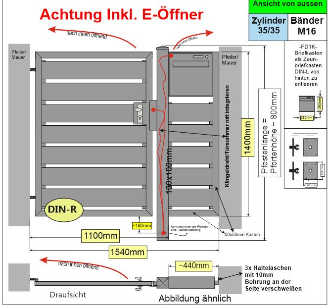 Sichtschutz  mit Briefkasten