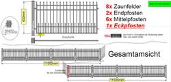 Modell_Bonn_Zaunanlage_über_Eck_gerade