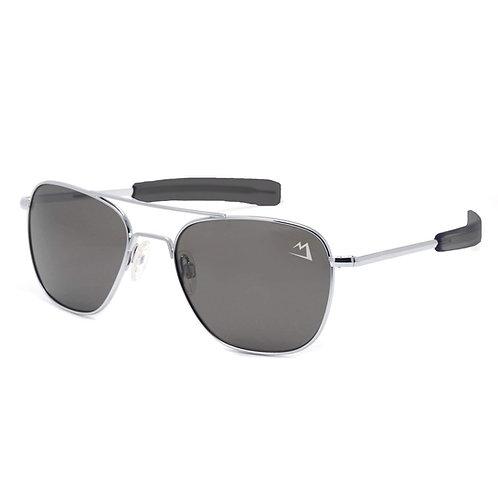 Bush Pilot Aviator Sunglasses - Silver