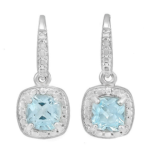 Sterling Silver 1 1/3 Carat Blue Topaz Drop Earrings