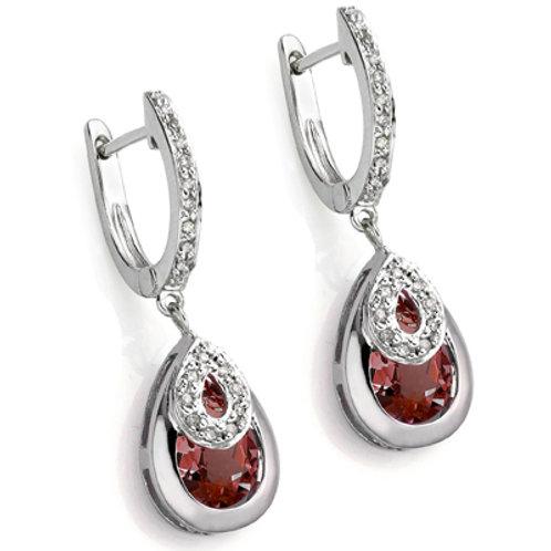 Sterling Silver 4.5 Carat Garnet Drop Earrings