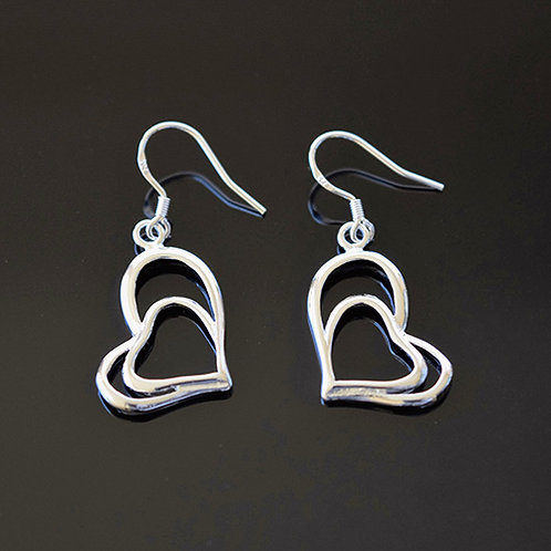Sterling Silver Double Heart Drop Earrings