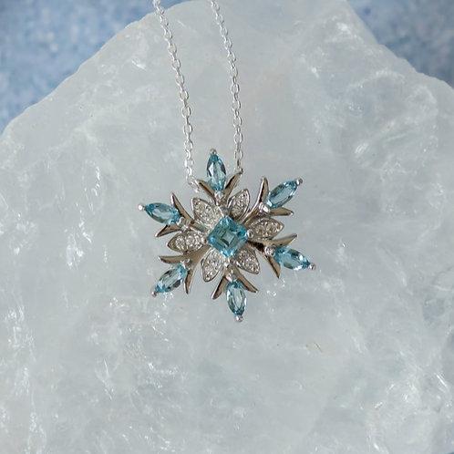 Sterling Silver Topaz Snowflake Pendant