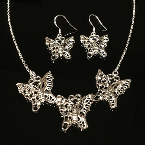 Sterling Silver Butterfly Pendant and Earring Set