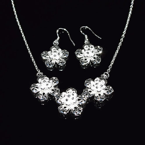 Sterling Silver Flower Necklet and Earring Set