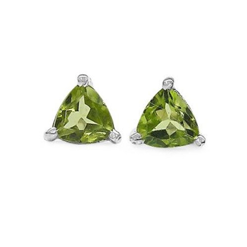 Sterling Silver 6mm Trilliant Peridot Studs