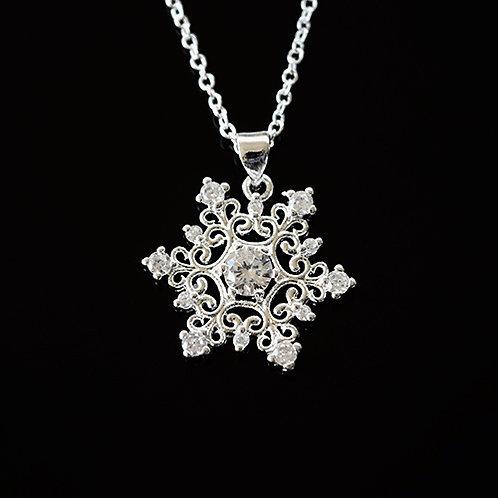 Sterling Silver CZ Snow Flake Pendant