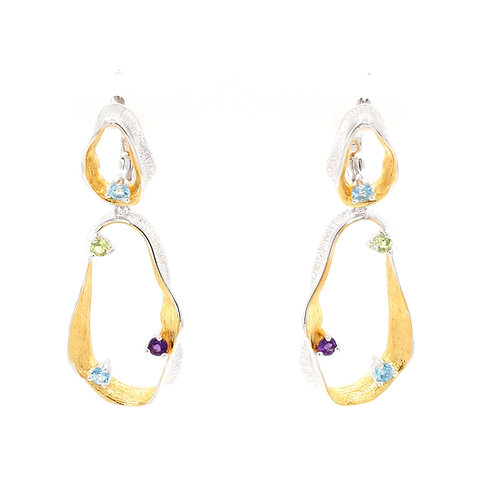 Sterling Silver Two Tone Multi Gemstone Earrings