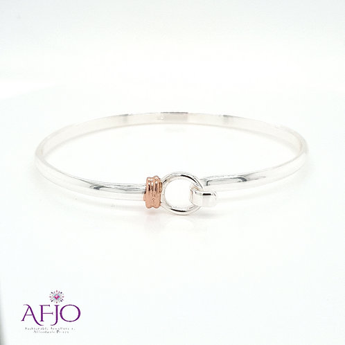 Sterling Silver Bangle with Rose Gold Accent
