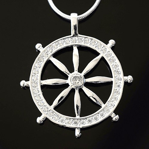 Sterling Silver Cubic Zirconia 'Lucky Wheel' Pendant