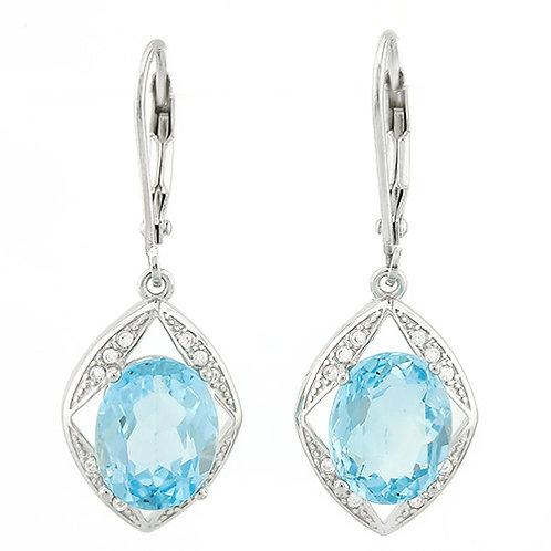 Sterling Silver 6.5 Carat Blue Topaz Drop Earrings