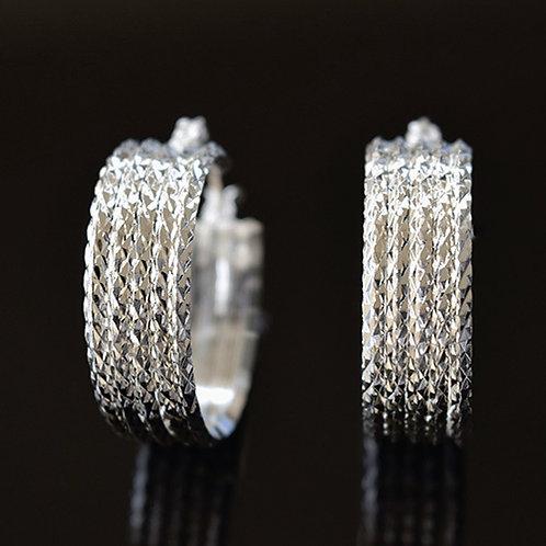 Sterling Silver Textured Hoop Earrings
