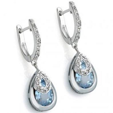 Sterling SIlver 3.80 Carat Topaz Drop Earrings