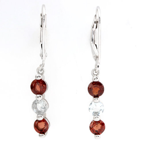 Sterling Silver Garnet & Aquamarine Drop Earrings