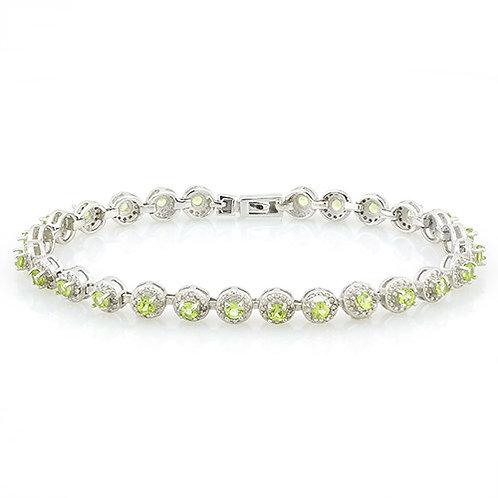 Sterling Silver Peridot & Diamond Accent Bracelet