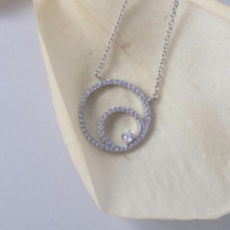 Sterling Silver CZ Triple Circle Pendant